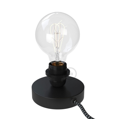 Posaluce, the black metal table lamp for lampshade, with textile cable, switch and plug