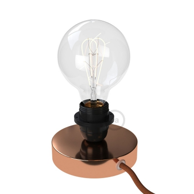 Posaluce, the coppered metal table lamp for lampshade, with textile cable, switch and plug