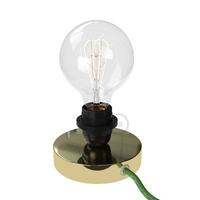 Posaluce, the brass metal table lamp for lampshade, with textile cable, switch and plug