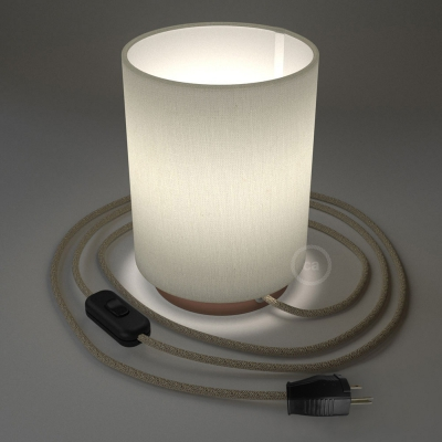 Posaluce with White Raw Cotton Cylinder lampshade, coppered metal, with textile cable, switch and plug
