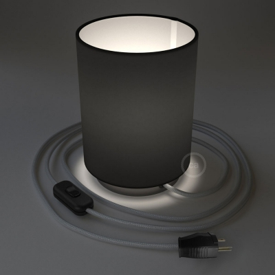 Posaluce with Black Canvas Cylinder lampshade, black pearl metal, with textile cable, switch and plug