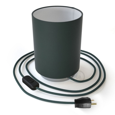 Posaluce with Petrol Blue Cinette Cylinder lampshade, chrome metal, with textile cable, switch and plug