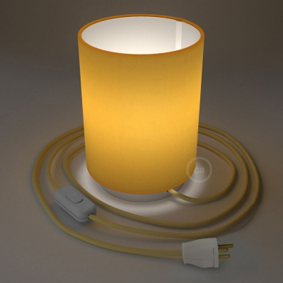 Posaluce with Bright Yellow Canvas Cylinder lampshade, white metal, with textile cable, switch and plug