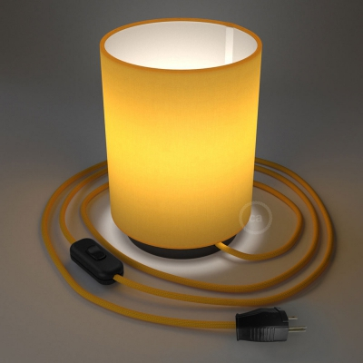 Posaluce with Bright Yellow Canvas Cylinder lampshade, black metal, with textile cable, switch and plug