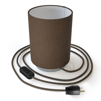 Posaluce with Brown Camelot Cylinder lampshade, chrome metal, with textile cable, switch and plug