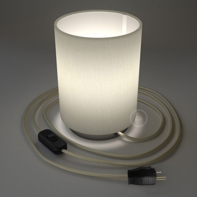 Posaluce with White Raw Cotton Cylinder lampshade, black pearl metal, with textile cable, switch and plug