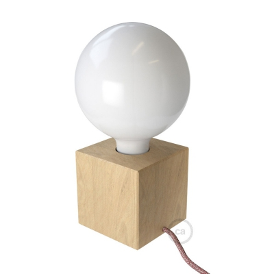Posaluce Cubetto, the natural wood cube table lamp with cloth wire