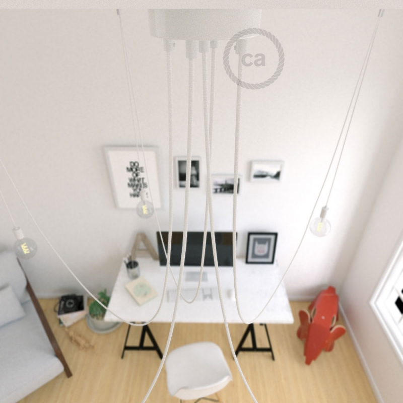 Spider, multiple suspension with 5 pendants, white metal, RM01 White cable