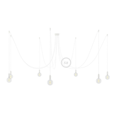 Spider, multiple suspension with 7 pendants, white metal, RM01 White cable