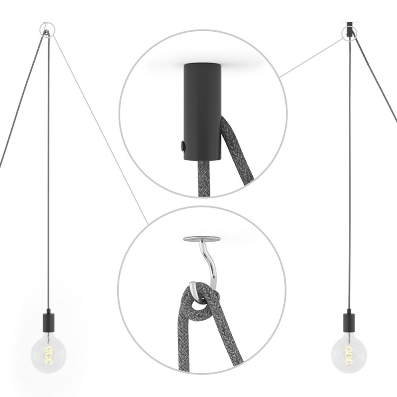 Spider, multiple suspension with 6 pendants, black metal, RM01 White cable