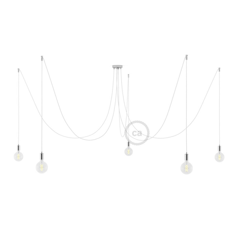 Spider, multiple suspension with 5 pendants, chromed metal, RM01 White cable