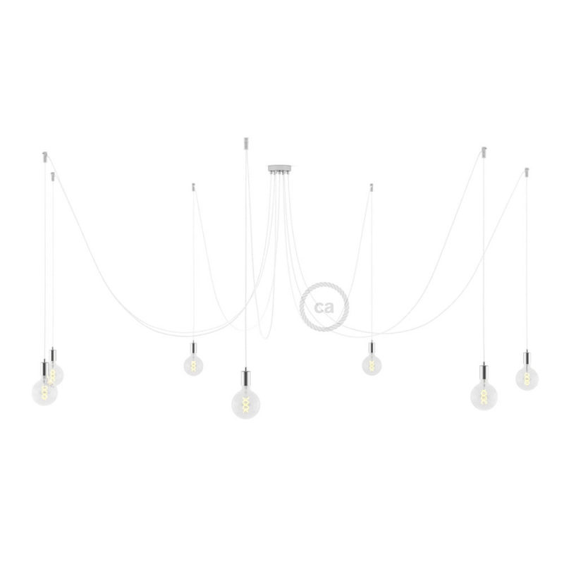 Spider, multiple suspension with 7 pendants, chromed metal, RM01 White cable