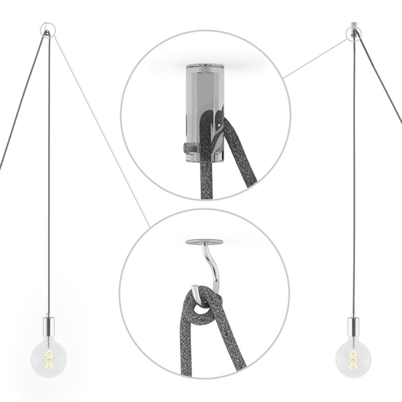 Spider, multiple suspension with 7 pendants, chromed metal, RM04 Black cable