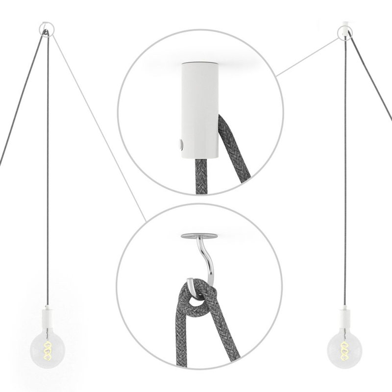 Spider, multiple suspension with 5 pendants, white metal, RM09 Red cable