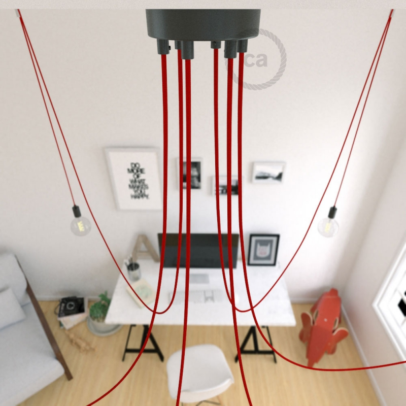 Spider, multiple suspension with 6 pendants, black metal, RM09 Red cable