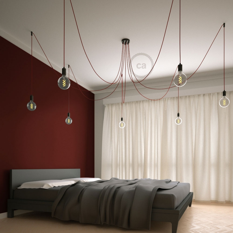 Spider, multiple suspension with 7 pendants, black metal, RM09 Red cable