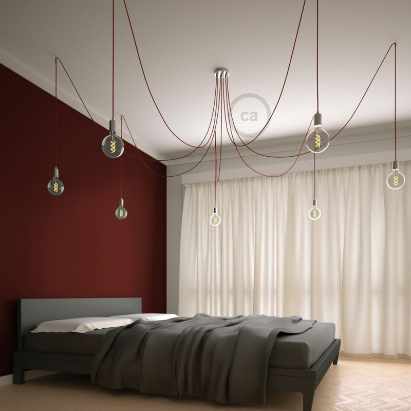 Spider, multiple suspension with 7 pendants, chromed metal, RM09 Red cable
