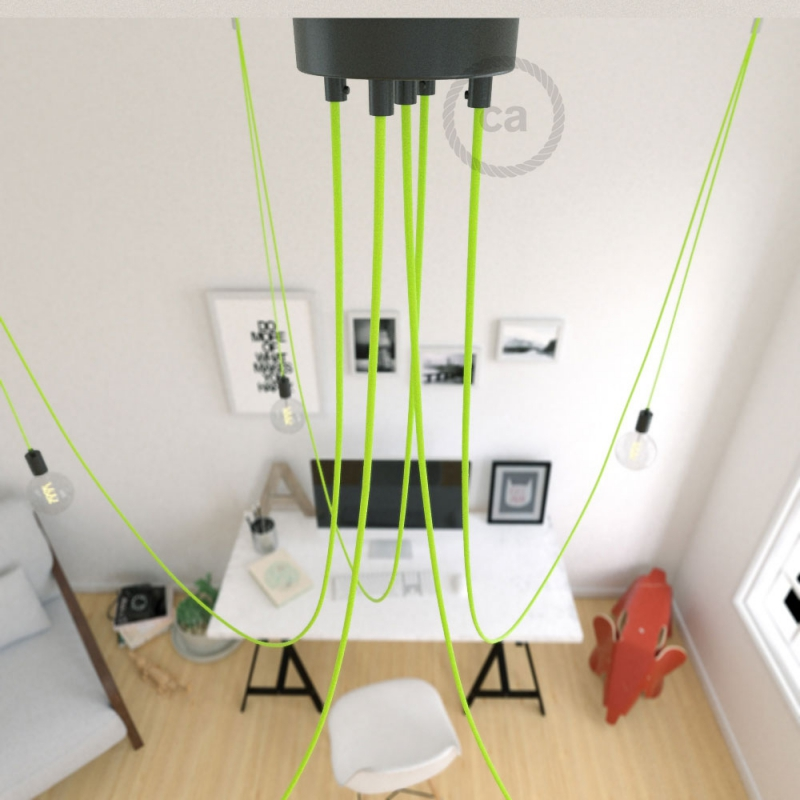 Spider, multiple suspension with 5 pendants, black metal, RF10 Neon Yellow cable