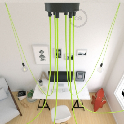 Spider, multiple suspension with 6 pendants, black metal, RF10 Neon Yellow cable