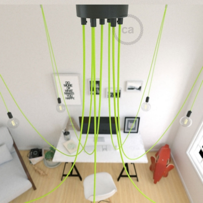 Spider, multiple suspension with 7 pendants, black metal, RF10 Neon Yellow cable