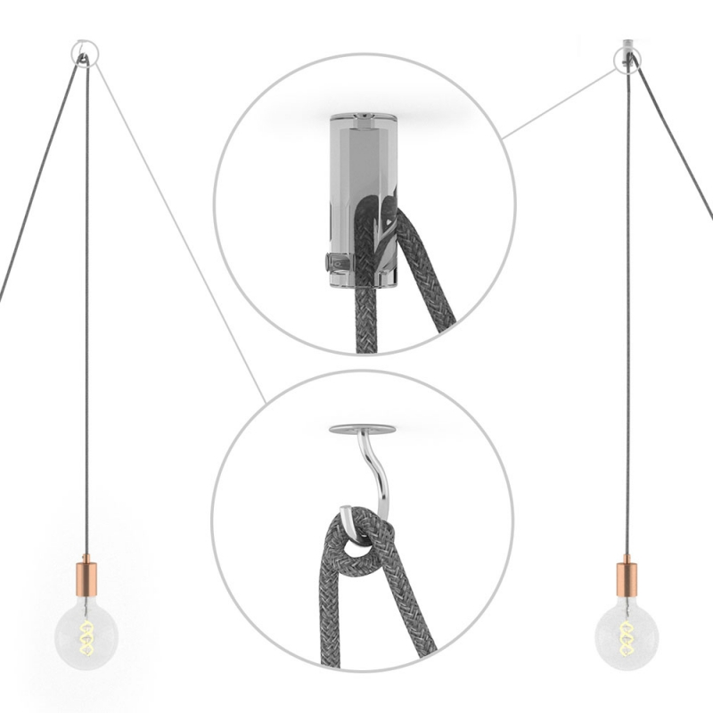 Spider, multiple suspension with 6 pendants, copper metal, RC63 Gray Green cable