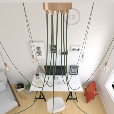 Spider, multiple suspension with 7 pendants, copper metal, RC63 Gray Green cable