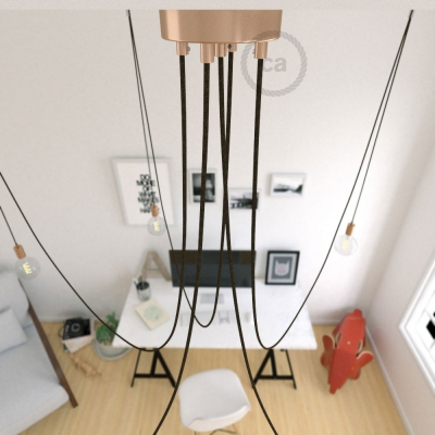 Spider, multiple suspension with 5 pendants, copper metal, RN04 Brown cable