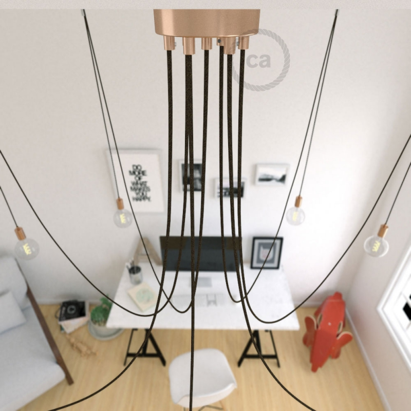 Spider, multiple suspension with 7 pendants, copper metal, RN04 Brown cable