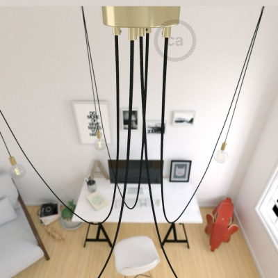 Spider, multiple suspension with 5 pendants, brass metal, RL04 Black Glitter cable