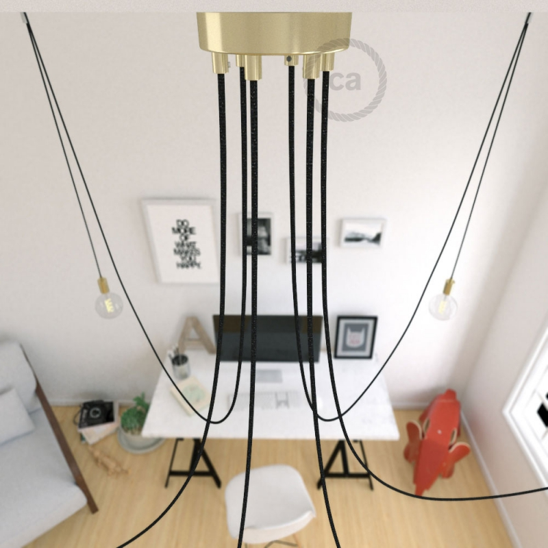 Spider, multiple suspension with 6 pendants, brass metal, RL04 Black Glitter cable