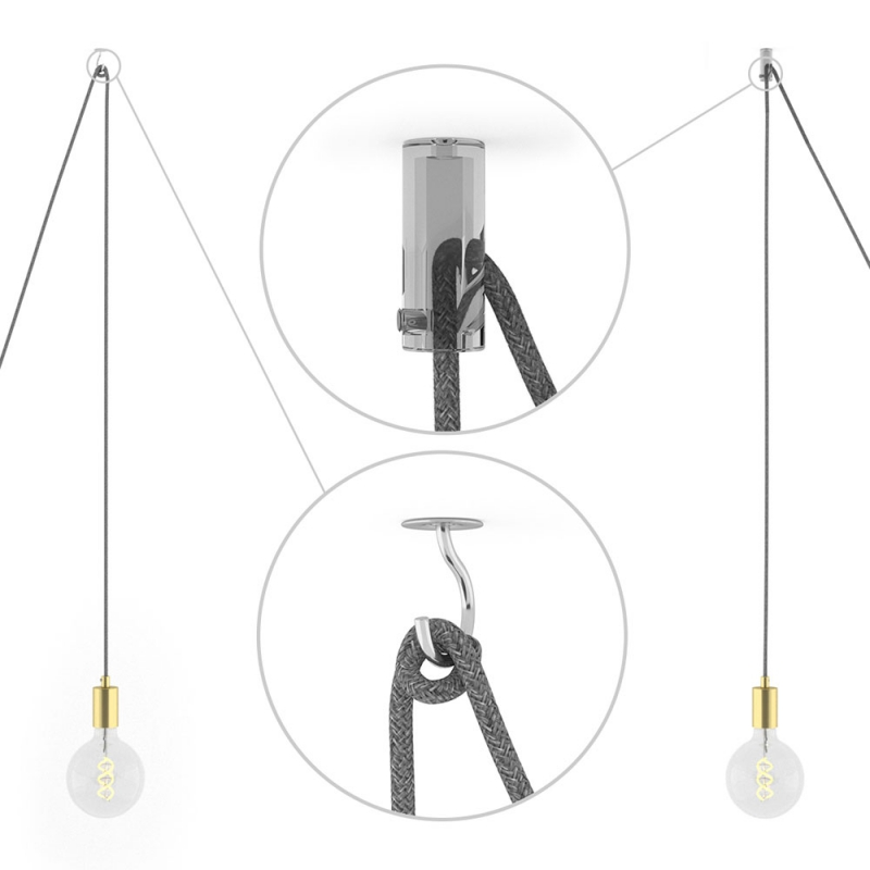 Spider, multiple suspension with 7 pendants, brass metal, RL04 Black Glitter cable