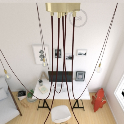 Spider, multiple suspension with 5 pendants, brass metal, RM19 Burgundy cable