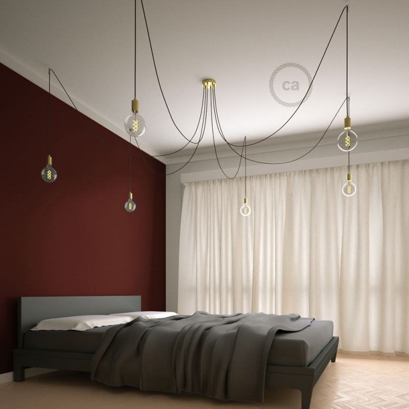 Spider, multiple suspension with 6 pendants, brass metal, RM19 Burgundy cable