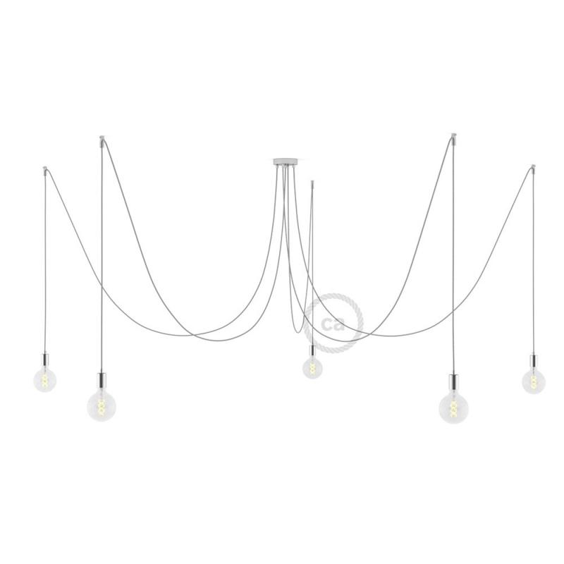 Spider, multiple suspension with 5 pendants, chromed metal, RL02 Silver Glitter