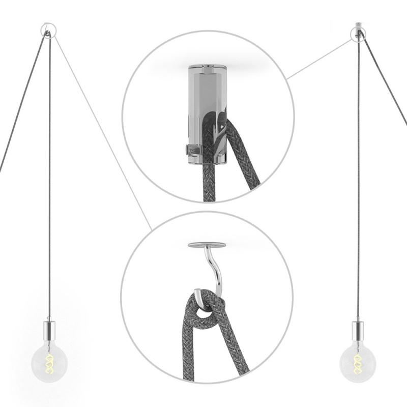 Spider, multiple suspension with 6 pendants, chromed metal, RL02 Silver Glitter