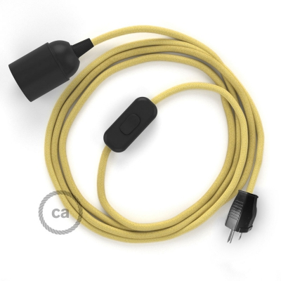 Plug-in Pendant with inline switch   RC10 Pale Yellow Cotton
