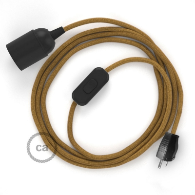 Plug-in Pendant with inline switch   RC31 Mustard Cotton