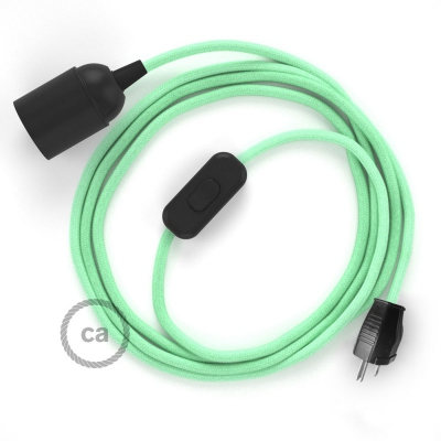 Plug-in Pendant with inline switch   RC34 Mint Green Cotton