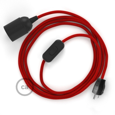 Plug-in Pendant with inline switch   RC35 Red Cotton