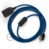 SnakeBis plug in pendant light with on/off switch and cloth wire - RM12 Blue Rayon