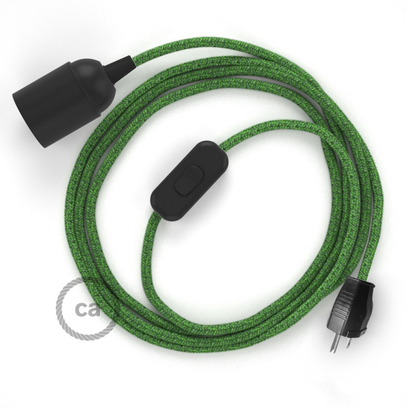 SnakeBis plug in pendant light with on/off switch and cloth wire - RX08 Green Cotton Tweed