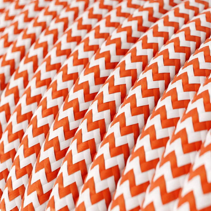 SnakeBis plug in pendant light with on/off switch and cloth wire - RZ15 Orange & White Chevron