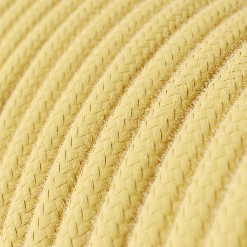 Single Pendant, suspended lamp with Pale Yellow Cotton textile cable RC10
