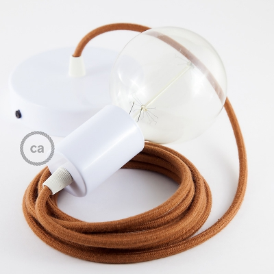 Single Pendant, suspended lamp with Rust Cotton textile cable RC23