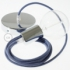 Single Pendant, suspended lamp with Stone Blue Cotton textile cable RC30