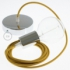 Single Pendant, suspended lamp with Mustard Cotton textile cable RC31
