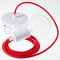 Single Pendant, suspended lamp with Red Cotton textile cable RC35