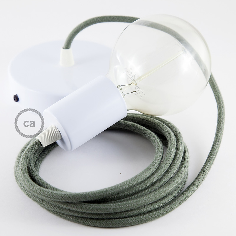 Single Pendant, suspended lamp with Gray Green Cotton textile cable RC63