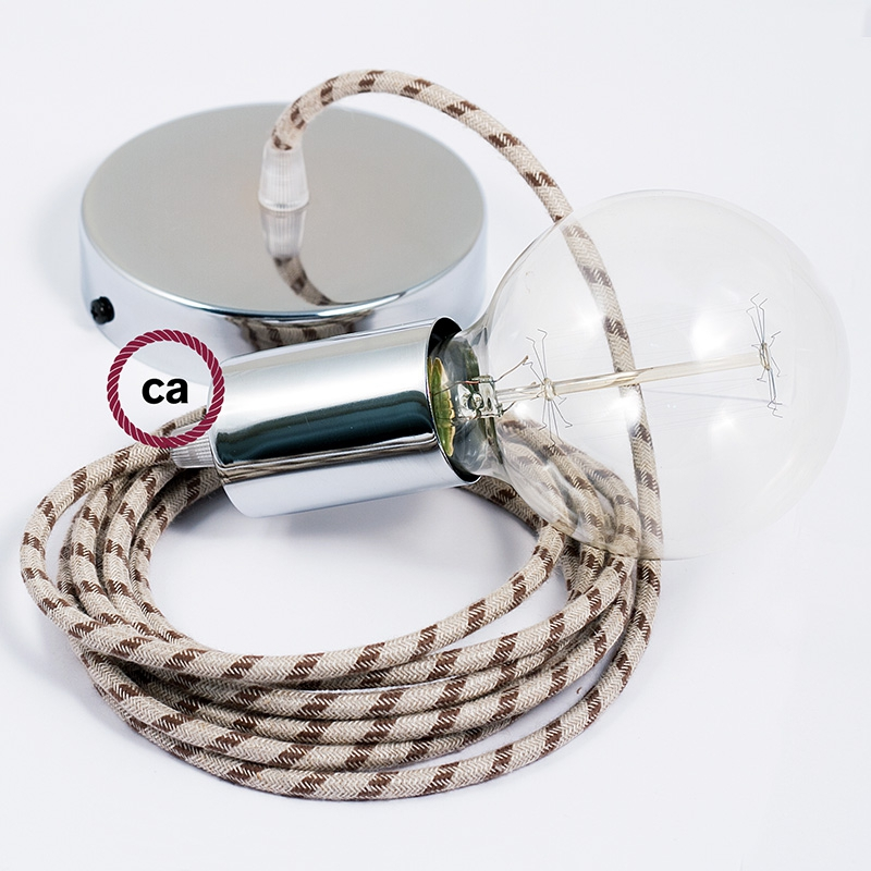 Single Pendant, suspended lamp with Natural & Charcoal Linen Stripe textile cable RD54