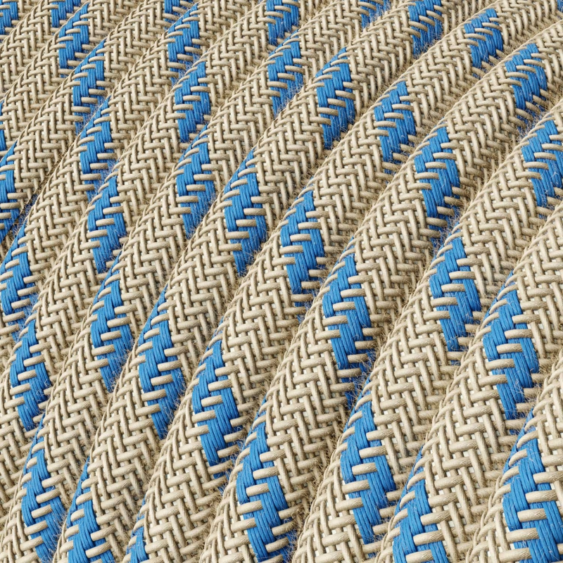 Single Pendant, suspended lamp with Natural & Blue Linen Stripe textile cable RD55